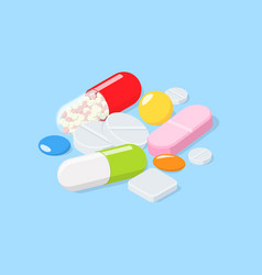 different medical pills tablets capsules vector image