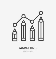 digital marketing flat line icon selling text vector image