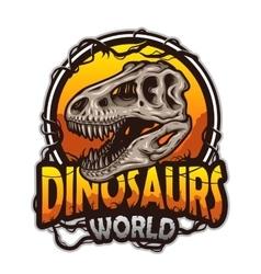 Dinosaurs world emblem vector image