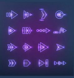 Directional neon holographic arrows pointers vector