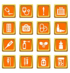 Drug medicine icons set orange square vector