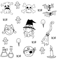 Element halloween face and witch in doodle vector image