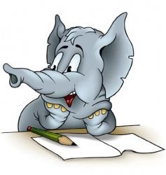elephant writing vector image