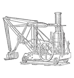 Excavator vintage vector