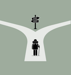 explorer reaching a split road trying to make vector image