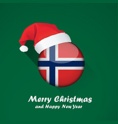 Flag of norway merry christmas and happy new year vector