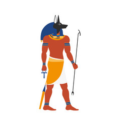 Flat anubis egypt god icon vector