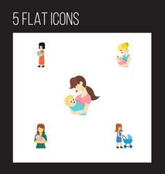 Flat icon mother set of perambulator baby parent vector