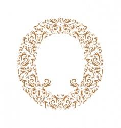 Floral letter o ornament font vector