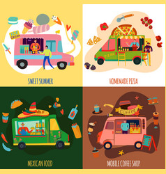 food trucks concept icons set vector image