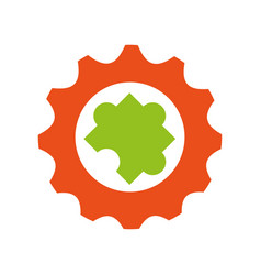 gears machine with puzzle piece vector image