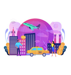 global internet of things smart city concept vector image