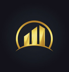 Gold building business chart logo vector