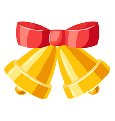 golden bells with red bow vector image