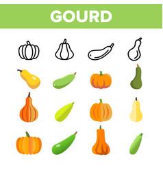 Gourd autumn season harvest linear icons vector