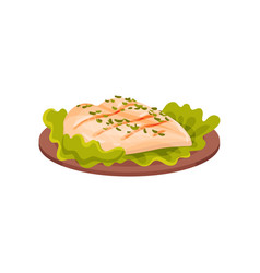 Grilled chicken meat served with lettuce leaves on vector