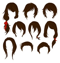 Hair styling for woman drawing Brown Set 1 vector image