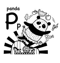 Hand drawnalphabet letter p-panda vector