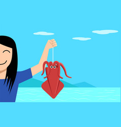 happy girl and squid fishing on vacation vector image