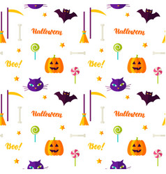 Happy halloween print seamless pattern vector