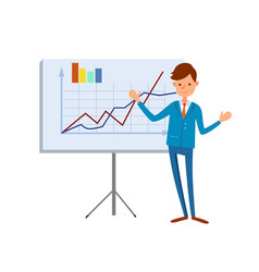 Happy manager pointing on tripod board charts vector