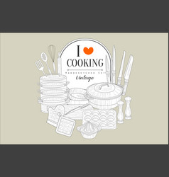 i love cooking creative vintage poster vector image