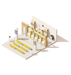 Isometric low poly visa application center vector