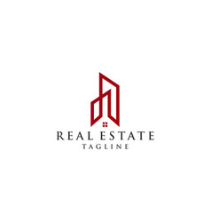 line building real estate logo vector image