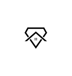 Line diamond with home or house or real estate vector
