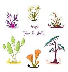 Magic trees and plants set cartoon elements vector