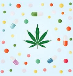 medical marijuana cannabis leaf and colorful vector image