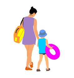 Mother and daughter go to swimming and sunbathing vector