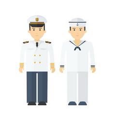 Naval captain and shipboy flat cartoon vector