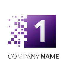 Number one logo symbol in the colorful square on vector