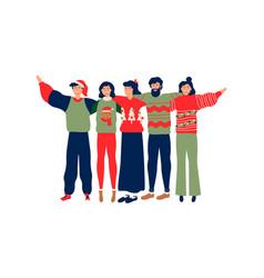 People friend group hug in christmas season vector