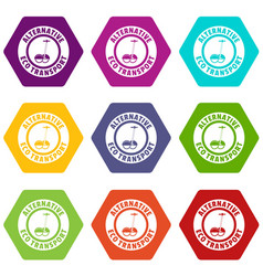 Personal gyro scooter icons set 9 vector