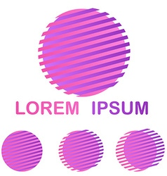 Pink and purple striped circle company symbol set vector