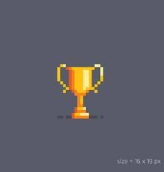 pixel golden winner cup vector image vector image