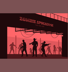 Poster zombie apocalypse silhouettes of gunmans vector