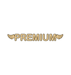 Premium sign with angel bird wing vector