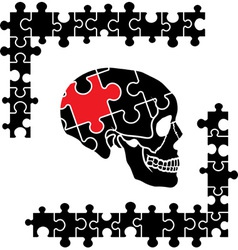 Puzzle skull vector image vector image