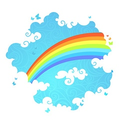 Rainbow in the sky vector image