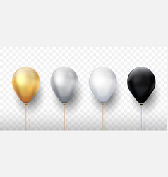 realistic balloons golden 3d transparent party vector image