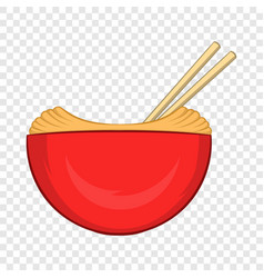red bowl of rice with pair of chopsticks icon vector image