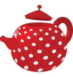 Red with white dots kettle vector image