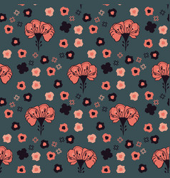 Retro prairie style floral pattern hand vector