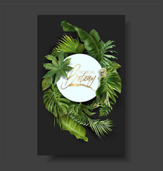 Round banner with green tropical leaves vector