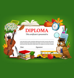 School diploma template kids certificate vector