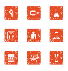 school education icons set grunge style vector image