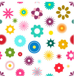 seamless flowers pattern flat design colorful vector image